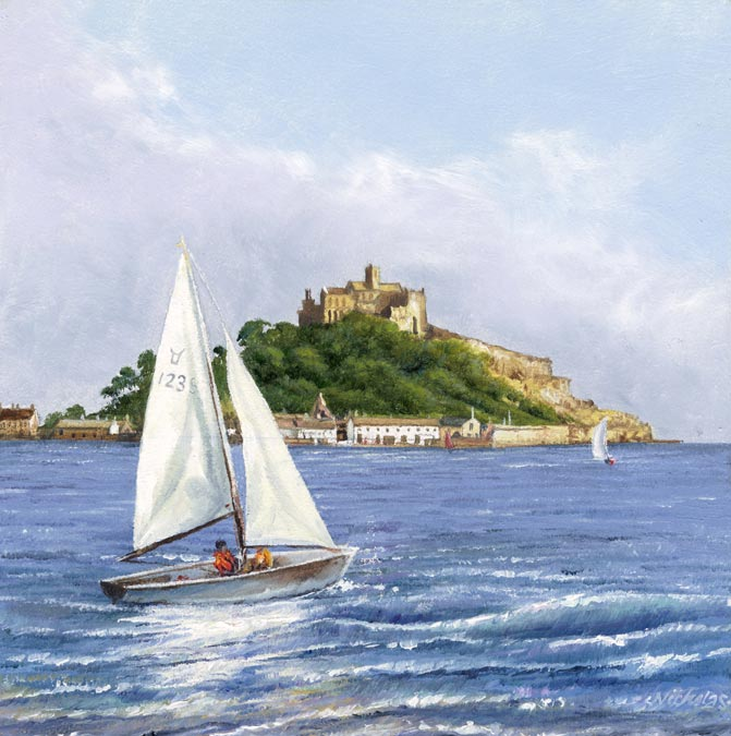 Print St Michael's Mount and Boat