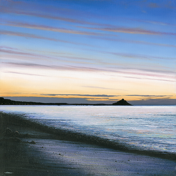LE696 Early Morning, Mounts Bay - a detailed print of Mounts Bay by artist Nicholas Smith