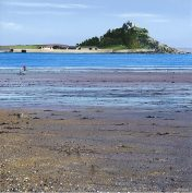 LE674 One Fine Day - a detailed print of Mounts Bay & St Michael's Mount by artist Nicholas Smith
