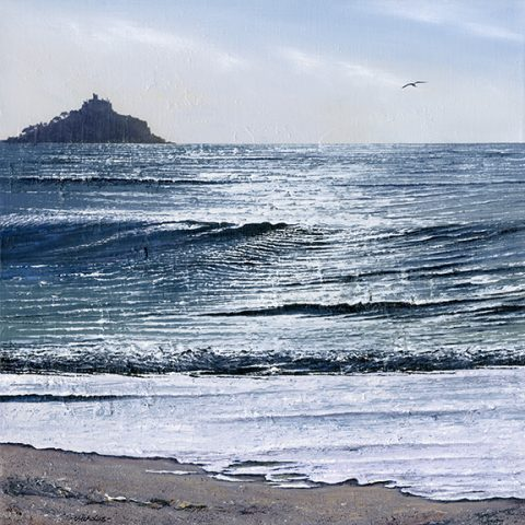 LE682 Sea Like Cream - a detailed print of St Michael's Mount by artist Nicholas Smith