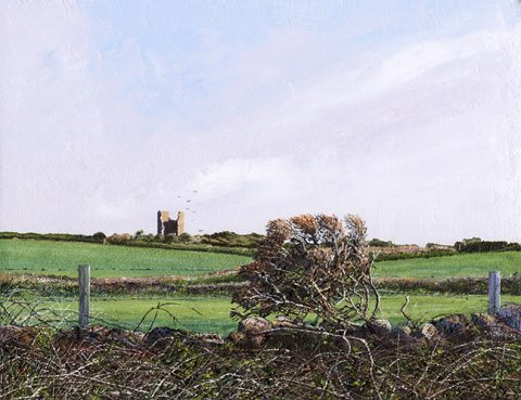 LE729 Over the Hedge - a detailed landscape print by artist Nicholas Smith