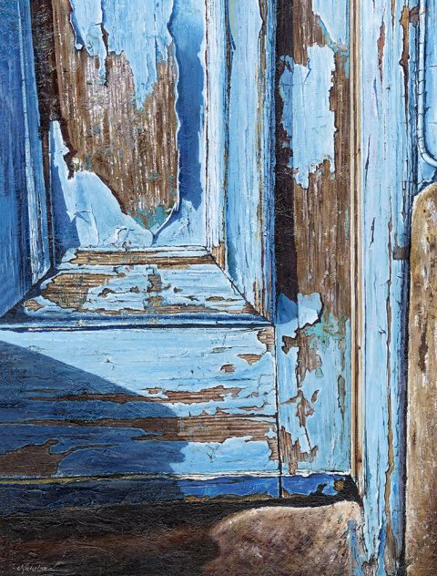 LE811 The Blue Door - a detailed print by artist Nicholas Smith