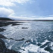 LE815 Sparkling Waters from Trebetherick Point to Padstow - a detailed print of a Cornish seascape by artist Nicholas Smith