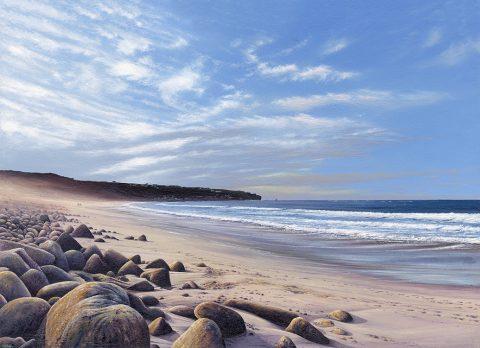 LE818 A Winters Walk, Sennen Cove - a detailed print of a Cornish seascape by artist Nicholas Smith