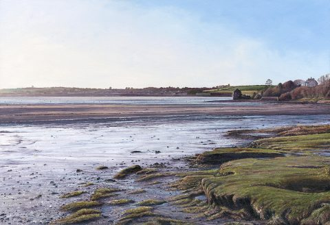 LE820 Winter Morning, Porthilly Beach, Rock - a detailed print of Porthilly Beach in Cornwall by artist Nicholas Smith