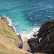 LE824 Sandy Cove - a detailed print of a Cornish cove by artist Nicholas Smith
