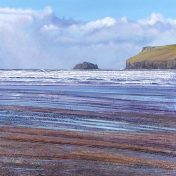 LE829 Peaceful Day, Polzeath - a detailed print by artist Nicholas Smith