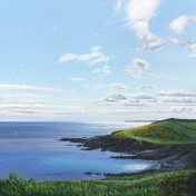 LE834 Coastal Path to Gribbin Head - a detailed print of a stretch of Cornish coastline by artist Nicholas Smith