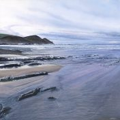 LE838 Crackington Haven - a detailed print of a Cornish beach by artist Nicholas Smith