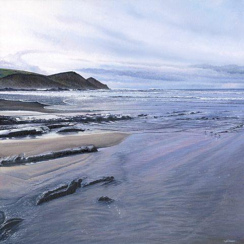 LE838 Crackington Haven - a detailed print of a Cornish beach by artist Nicholas Smith