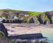 OE1 Port Isaac - a detailed print of a Cornish harbour by artist Nicholas Smith
