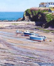 OE2 Port Isaac Beach - a detailed print of a Cornish beach and harbour by artist Nicholas Smith