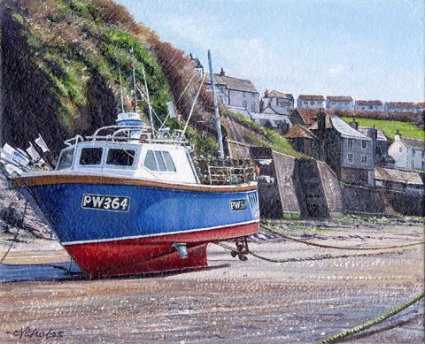 OE3 Port Isaac Large Boat - a detailed print of a Cornish harbour and fishing boat by artist Nicholas Smith