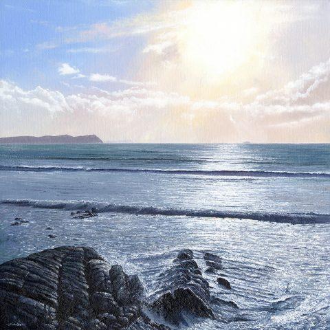 LE804 Sparkling Waters, Polzeath - a detailed print of a stretch of Cornish coastline by artist Nicholas Smith