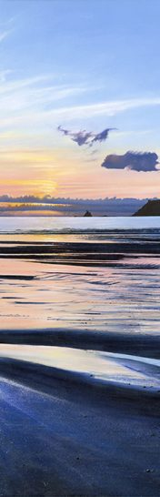LE808 Perfect Day (Slim) - a detailed print of a Cornish beach and sunset by artist Nicholas Smith