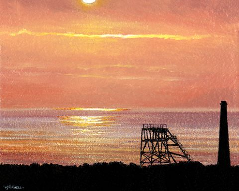 OE18 Cinnamon Sunset Over Geevor - a detailed print by artist Nicholas Smith