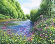 OE19 Blue Waters - River Otter - a detailed print by artist Nicholas Smith