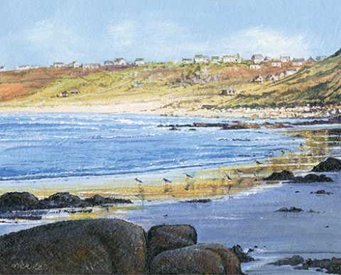 OE24 Oyster Catchers on Sennen Beach - a detailed print by artist Nicholas Smith