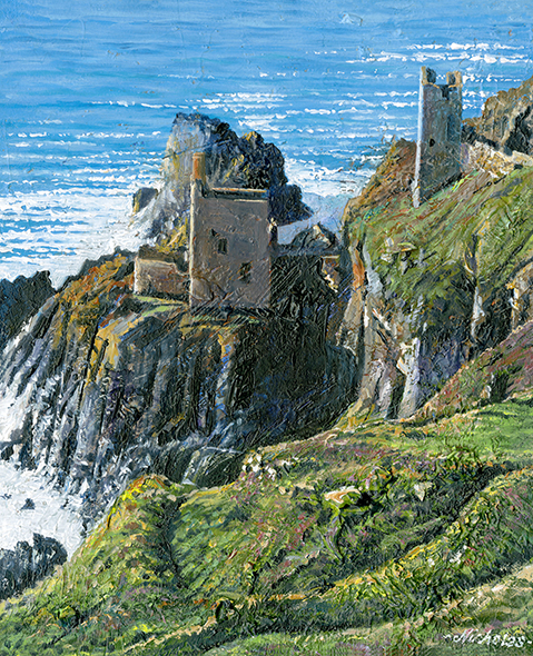 OE28 Crown Mines at Botallack - a detailed print by artist Nicholas Smith