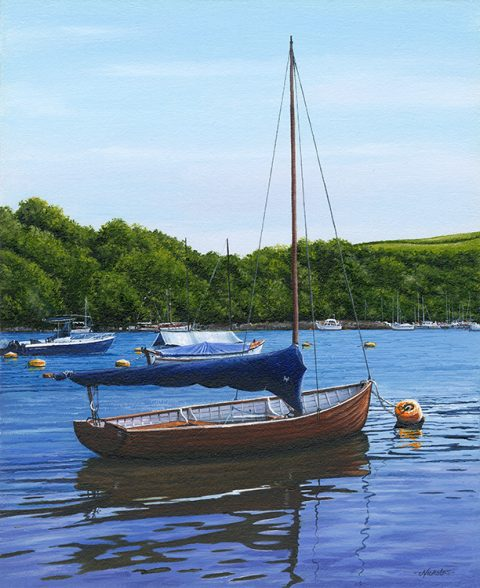 OE04 Tranquil Mooring, Fowey River - a detailed print by artist Nicholas Smith