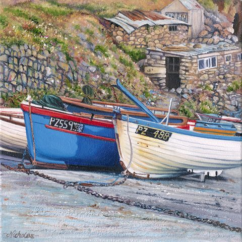OE35 Cape Slip - a detailed print of fishing boat hauled up the slipway at Cape Cornwall by artist Nicholas Smith