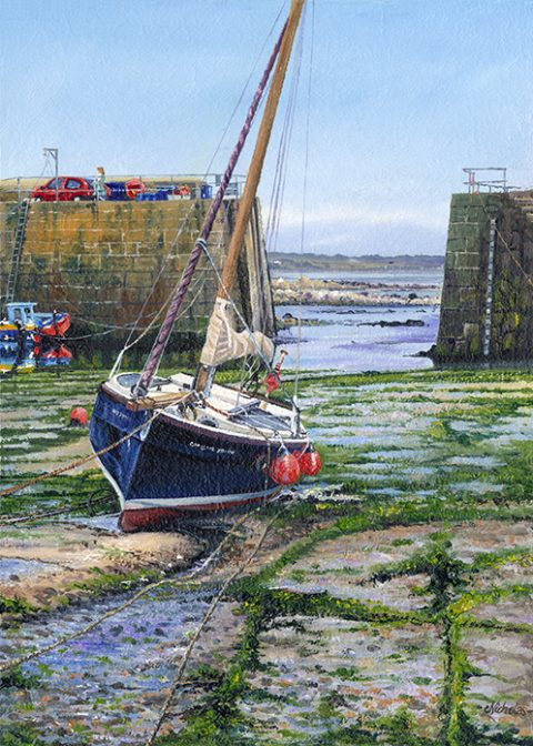 OE37 Mousehole Harbour Wall - a detailed print of a Cornish Harbour by artist Nicholas Smith