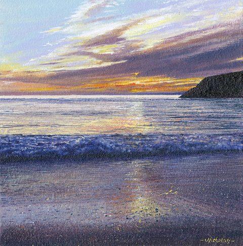 OE38 Poldhu Dusk - a detailed print of a Cornish beach by artist Nicholas Smith