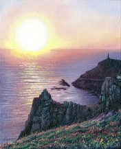 OE39 Cape Calm - a detailed print of Cape Cornwall at sunset by artist Nicholas Smith