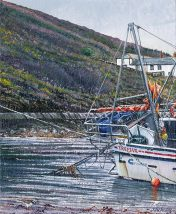 OE32 Boscastle - a detailed print of a Cornish harbour by artist Nicholas Smith
