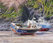 OE33 Port Isaac - a detailed print of a Cornish fishing boats by artist Nicholas Smith