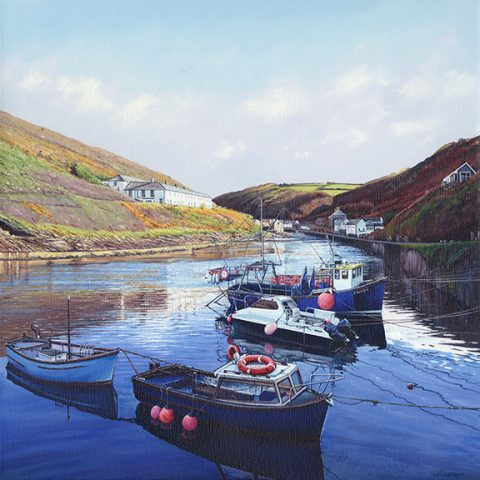 LE845 Boscastle Boats - a detailed print of a Cornish harbour by artist Nicholas Smith