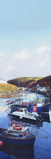 LE847 Boscastle Boats II - a detailed slimline print of a Cornish harbour by artist Nicholas Smith