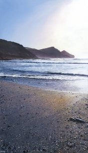 LE839 Late Afternoon, Crackington Haven - a detailed print of a Cornish beach by artist Nicholas Smith