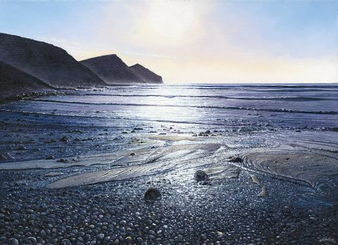 LE840 Ebb Tide, Crackington Haven - a detailed print of a Cornish beach and coastline by artist Nicholas Smith