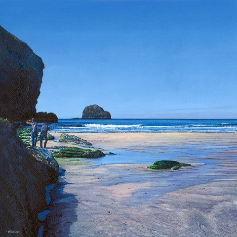 LE844 Gull Rock from Trebarwith Strand - a detailed print of a Cornish beach by artist Nicholas Smith