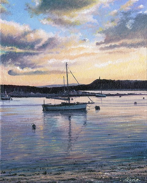 OE40 Tranquil Moorings, Porthilly Beach, Rock - a detailed print of a Cornish beach by artist Nicholas Smith