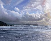OE42 Stepper Point in the Distance - a detailed print of the Cornish coastline by artist Nicholas Smith