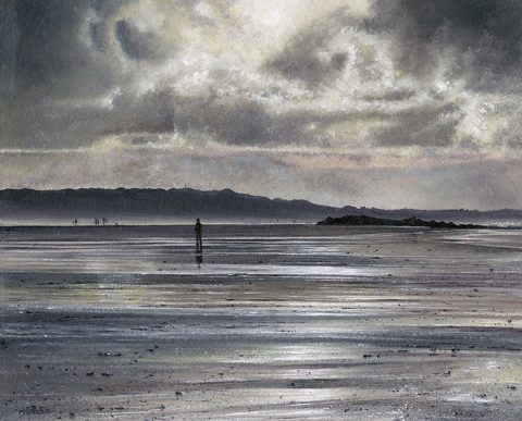 LE852 Gwithian Towans Under Heavy Skies - a detailed print by artist Nicholas Smith