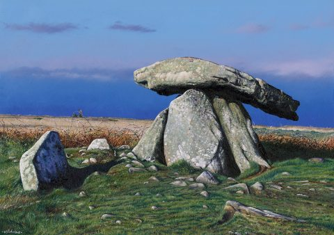 LE855 Chun Quoit, West Penwith - a detailed print by artist Nicholas Smith