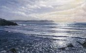 LE853 Polzeath Beach Looking Towards Stepper Point - a detailed print by artist Nicholas Smith