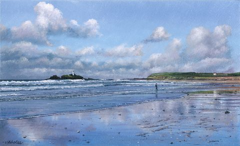 LE854 Reflecting Clouds, Godrevy - a detailed print by artist Nicholas Smith
