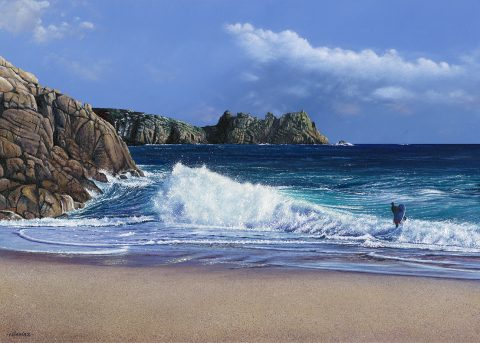 LE857 Braving the Waves, Porthcurno - a detailed print by artist Nicholas Smith